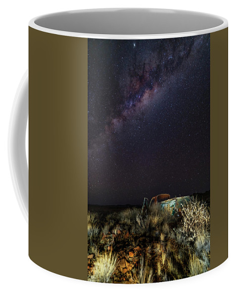 Stars Milky Way Galaxy Night Sky Transportation Truck Coffee Mug featuring the photograph Ute by Mark Vegera