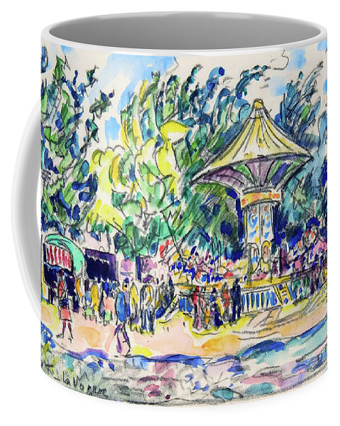 Paul Signac Coffee Mug featuring the painting Village Festival, The Vogue - Digital Remastered Edition by Paul Signac