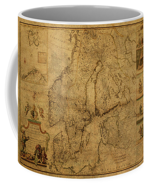 Vintage Coffee Mug featuring the mixed media Vintage Map Of Scandinavia 1717 Denmark Sweden by Design Turnpike