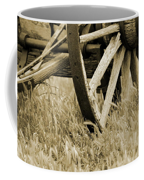 """Vintage Wagon Wheel in Sepia"" Fine Art Photography on Coffee Mug"
