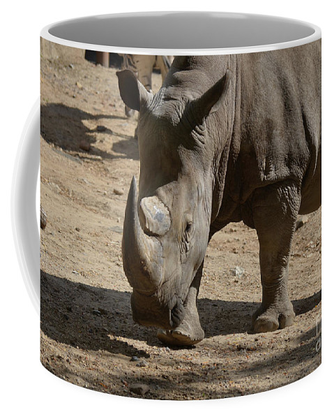 Rhino Coffee Mug featuring the photograph Walking Rhino With One Large Horn And One Small Horn by DejaVu Designs
