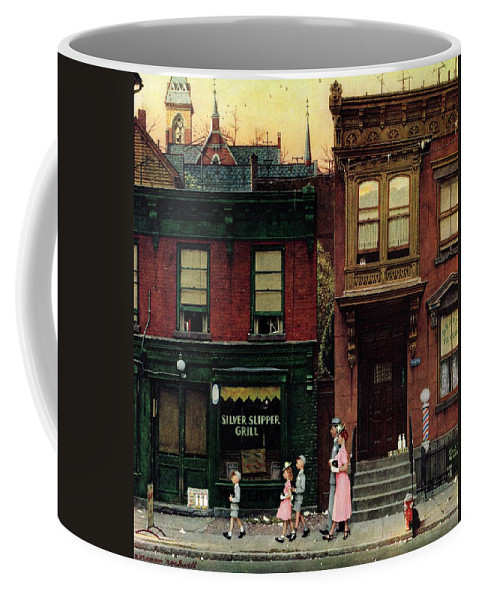Churches Coffee Mug featuring the drawing Walking To Church by Norman Rockwell