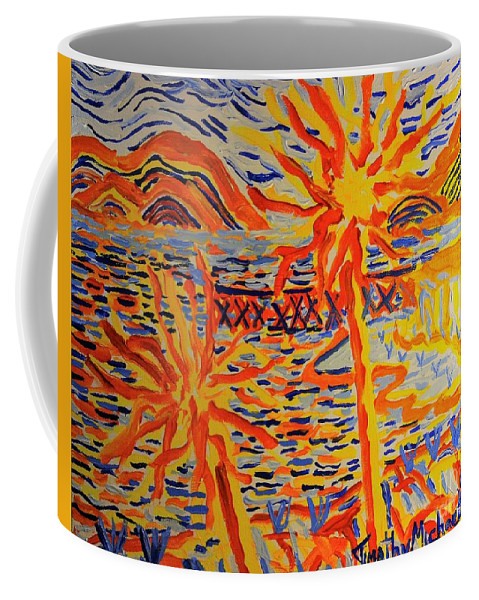 Acrylic Coffee Mug featuring the painting Warmly Lit Flowers by Timothy Michael Foley