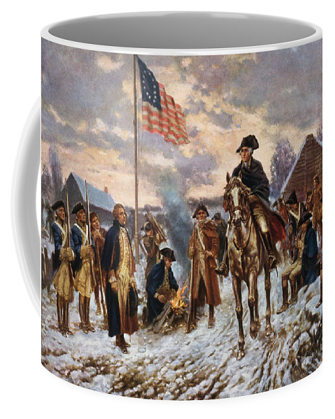 George Washington Coffee Mug featuring the painting Washington at Valley Forge by War Is Hell Store