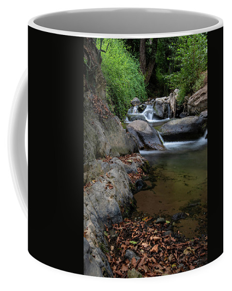 Waterfall Coffee Mug featuring the photograph Water Stream On The River With Small Waterfalls by Michalakis Ppalis