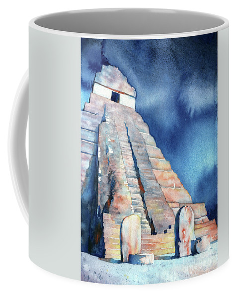 Tikal Guatemala Coffee Mug featuring the painting Watercolor Painting Of Mayan Temple And Stelae At Unesco World H by Ryan Fox