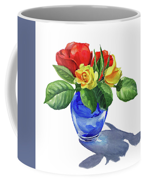 Rose Coffee Mug featuring the painting Watercolor Roses In The Blue Vase by Irina Sztukowski