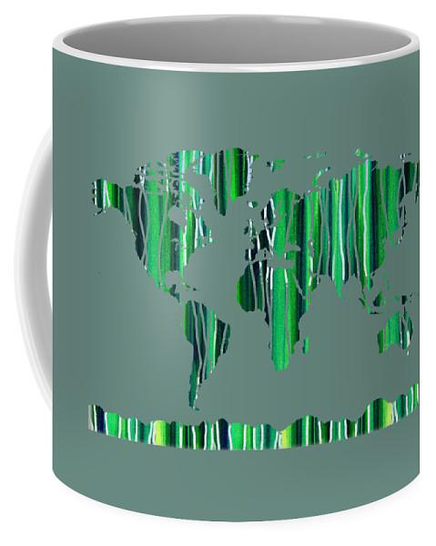 Green Coffee Mug featuring the painting Watercolor Silhouette World Map Colorful Png Xxviii by Irina Sztukowski