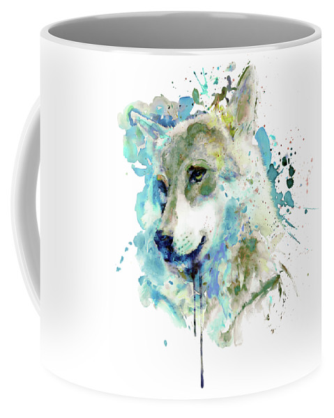 Watercolor Coffee Mug featuring the painting Watercolor Wolf Portrait by Marian Voicu