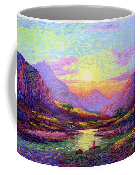 Meditation Coffee Mug featuring the painting Waves Of Illumination by Jane Small
