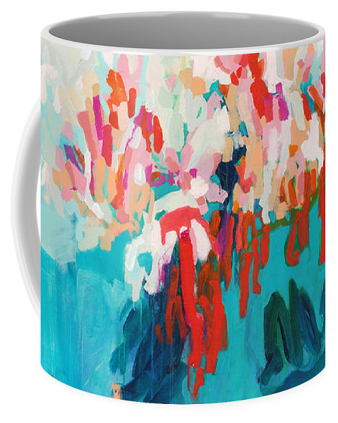 Abstract Coffee Mug featuring the painting What Are Those Birds Saying? by Claire Desjardins