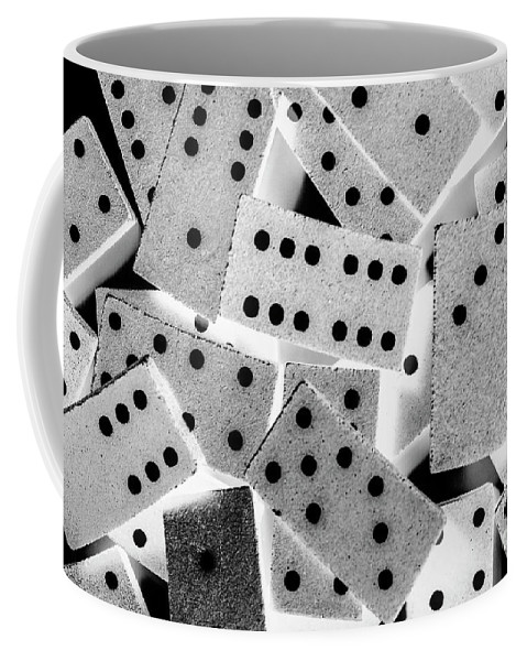 Game Coffee Mug featuring the photograph White Dots Black Chips by Jorgo Photography - Wall Art Gallery