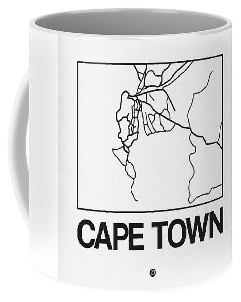 Unique Collection Of City Street Maps. American Cities Coffee Mug featuring the digital art White Map Of Cape Town by Naxart Studio