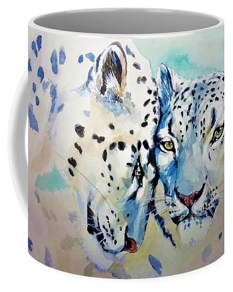 Snow Leopard Coffee Mug featuring the painting Snow Leopard by ArtMarketJapan