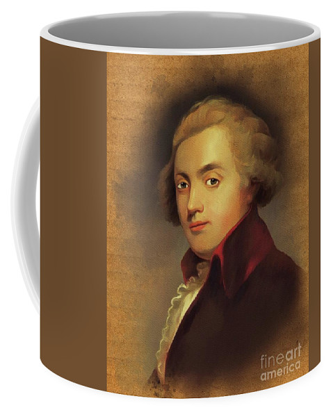 Wolfgang Coffee Mug featuring the painting Wolfgang Amadeus Mozart, Music Legend by Esoterica Art Agency