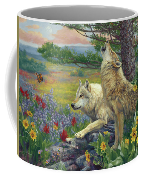 Wolf Coffee Mug featuring the painting Wolves in the Spring by Lucie Bilodeau