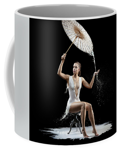 Woman Coffee Mug featuring the photograph Woman With Milk Dress by Johan Swanepoel