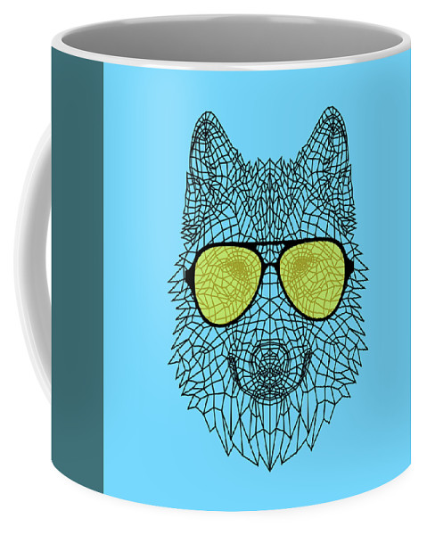 Wolf Coffee Mug featuring the digital art Woolf In Yellow Glasses by Naxart Studio