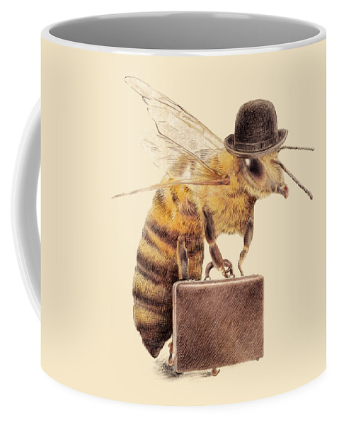 Bee Coffee Mug featuring the drawing Worker Bee by Eric Fan