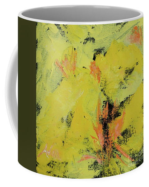 Palette Knife Painting Coffee Mug featuring the painting Yellow Blooms Coral Accents by Felipe Adan Lerma