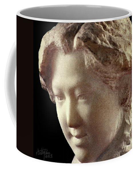People Coffee Mug featuring the sculpture Young Girl-part-arttopan Carving-realistic Stone Sculptures-marble by Artto Pan