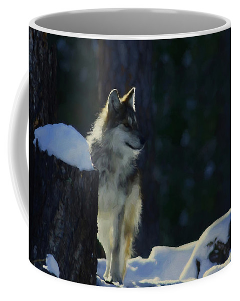 Wolf Coffee Mug featuring the digital art Young Mexican Grey Wolf by Ernie Echols