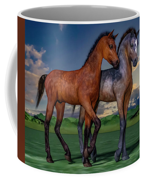 Foals Coffee Mug featuring the digital art Young Spirits by Betsy Knapp