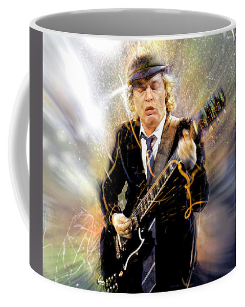 Angus Young Coffee Mug featuring the digital art You've been thunderstruck by Mal Bray