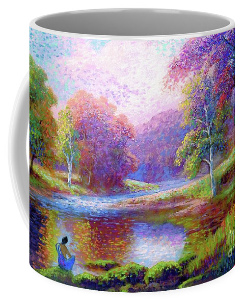 Meditation Coffee Mug featuring the painting Zen Garden Meditation by Jane Small