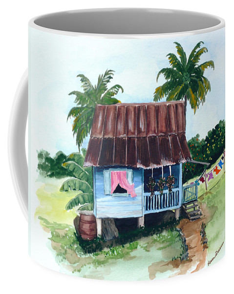 Landscape Painting Caribbean House Painting Blue House Painting Trinidad And Tobago Painting Greeting Card Painting Island Painting Tropical House Painting Blue Painting Coffee Mug featuring the painting Little Blue House by Karin Dawn Kelshall- Best