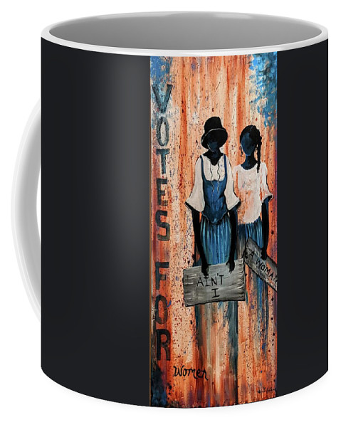 Coffee Mug featuring the painting Ain't I A Woman by Sonja Griffin Evans