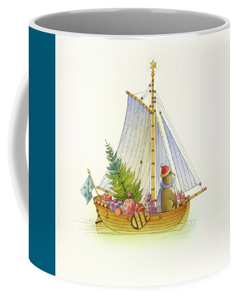 Boat Sea Winter Water Christmas Holydays Christmascards Coffee Mug featuring the drawing Christmas boat by Kestutis Kasparavicius