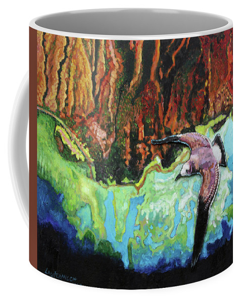Sea Gull Coffee Mug featuring the painting Flying High by John Lautermilch
