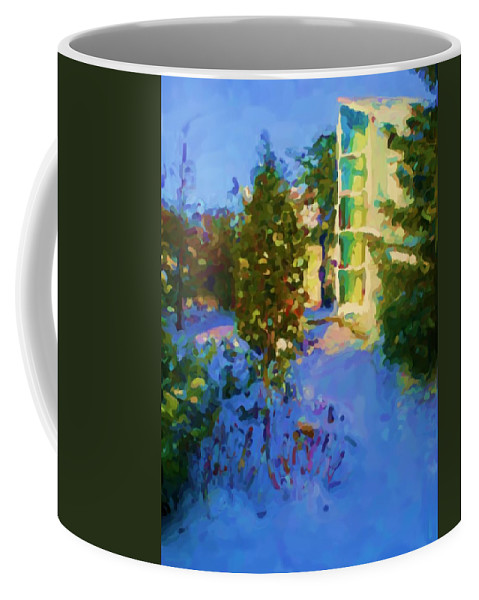 Hedensted Coffee Mug featuring the mixed media Hedensted by Asbjorn Lonvig