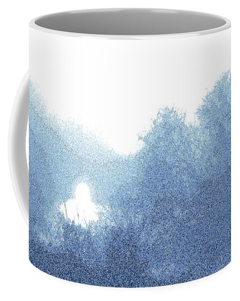 Blue Fog Coffee Mug featuring the photograph Light in the blue fog, engraving effect 2 by Paul Boizot