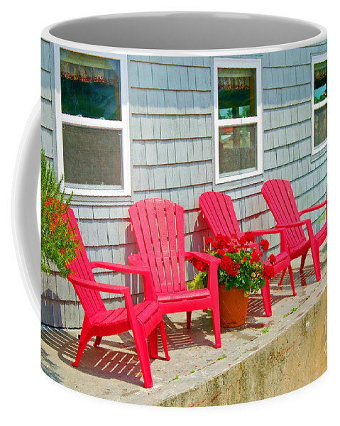 Red Coffee Mug featuring the photograph Red Chairs by Debbi Granruth