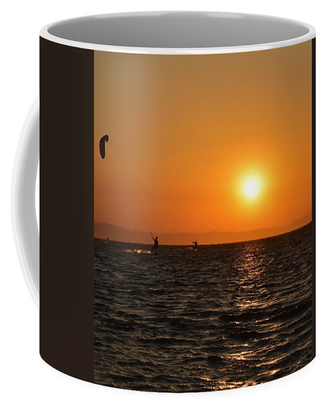 Kitesurfing Coffee Mug featuring the photograph Red sea sunset by Luca Lautenschlaeger