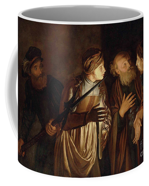 Coster Coffee Mug featuring the painting The Denial of Saint Peter by Adam de Coster