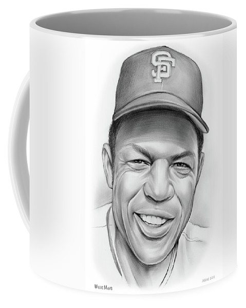 Sketch Of The Day Coffee Mug featuring the drawing Willie Mays by Greg Joens