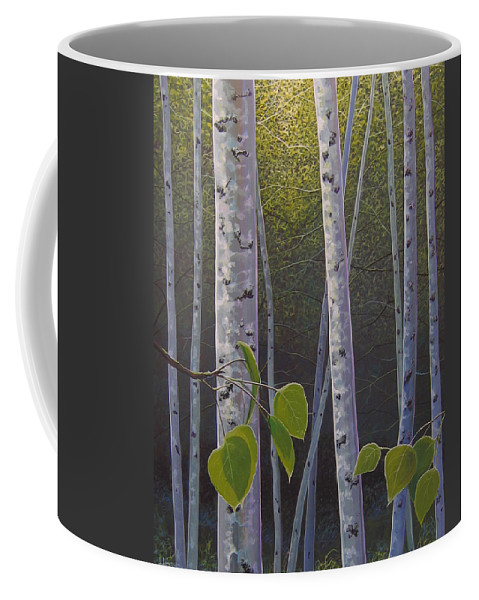 Aspen Coffee Mug featuring the painting Light in the Forest by Hunter Jay