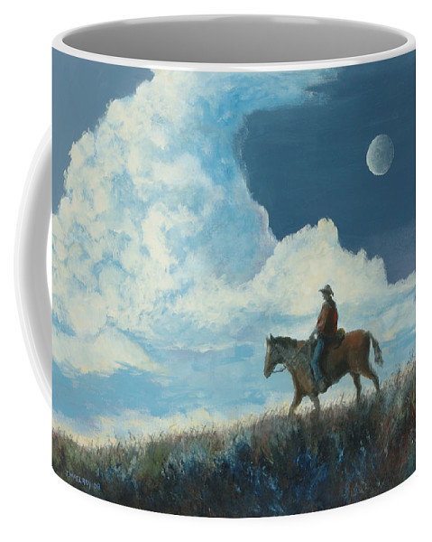 Cowboy Coffee Mug featuring the painting Rider Against the Sky by Jerry McElroy