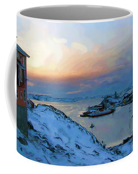 Nuuk Greenland Coffee Mug featuring the mixed media Nuuk Greenland by Asbjorn Lonvig