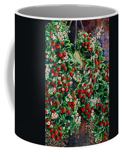 Fruit Painting Strawberry Painting Red Floral Painting Hanging Strawberry Basket Painting Botanical Painting Fruit Painting Coffee Mug featuring the painting A Berry Sweet Basket by Karin Dawn Kelshall- Best