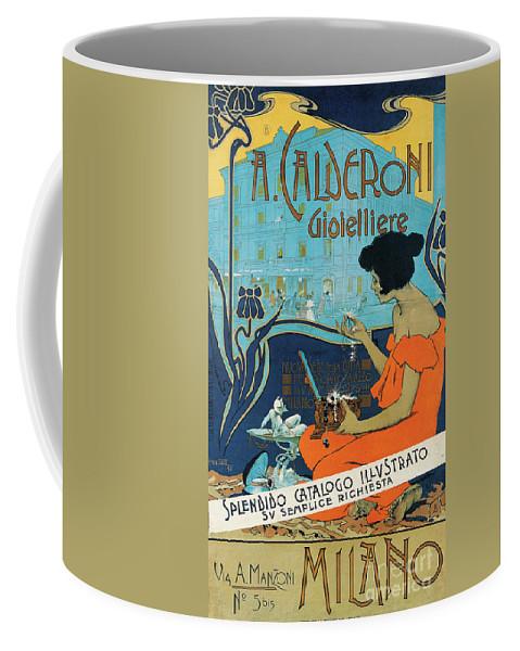 Diamond Coffee Mug featuring the painting A Calderoni Gioielliere, Milan, 1898 by Adolfo Hohenstein
