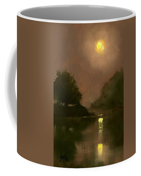Miniatures Coffee Mug featuring the painting A Clear Evening by Jim Gola