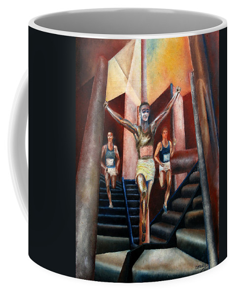 Figures Coffee Mug featuring the painting A day in the life by Tom Conway