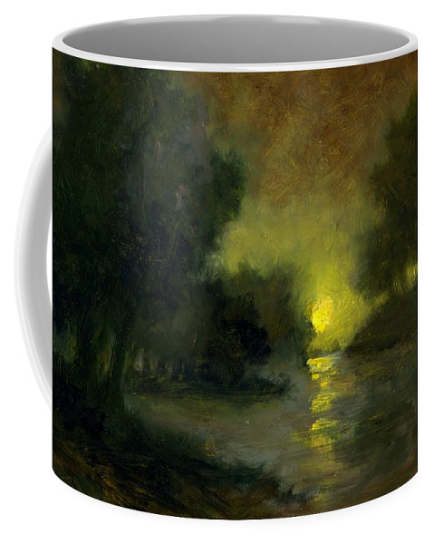 Miniaturesoil Paintings Coffee Mug featuring the painting A Dusky Evening by Jim Gola