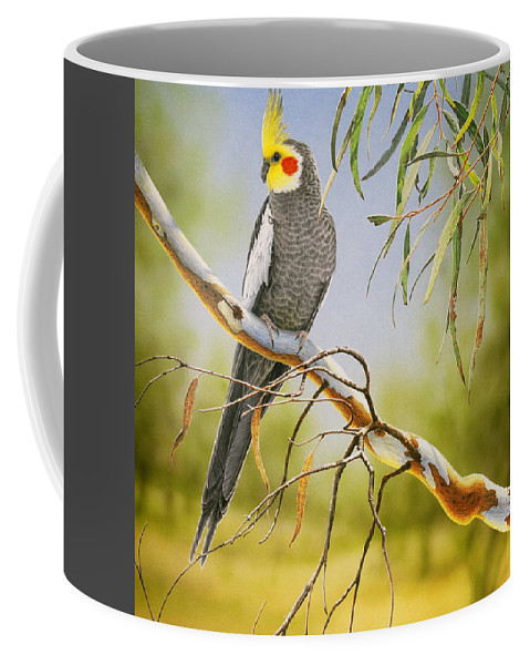 Bird Coffee Mug featuring the painting A Friendly Face - Cockatiel by Frances McMahon