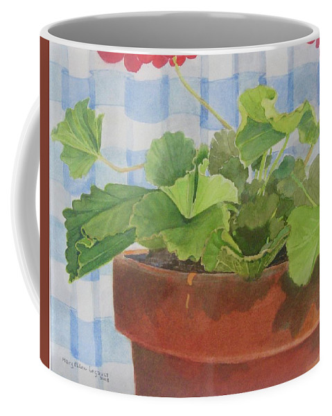 Flowers Coffee Mug featuring the painting A Geranium is a Geranium is a Geranium...... by Mary Ellen Mueller Legault