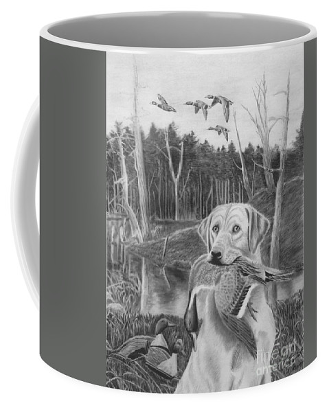 A Mouth Full Coffee Mug featuring the drawing A Mouth Full by Peter Piatt